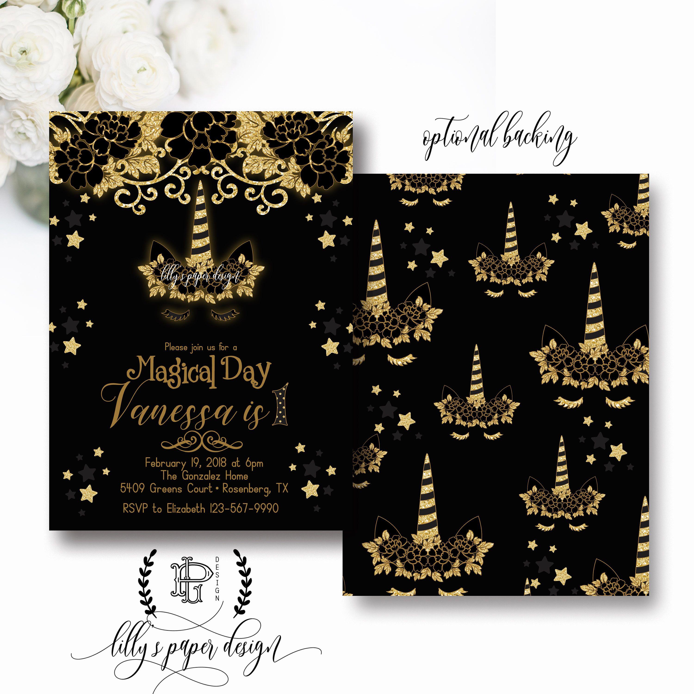 Unicorn Invitation Black And Gold Unicorn Party Invitation