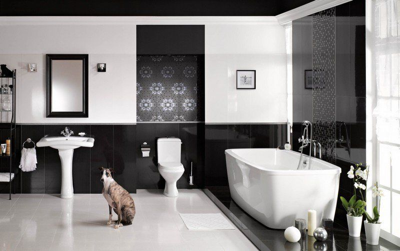 carrelage salle de bain noir et blanc duo intemporel trs classe - Photo Salle De Bain Noir Et Blanc