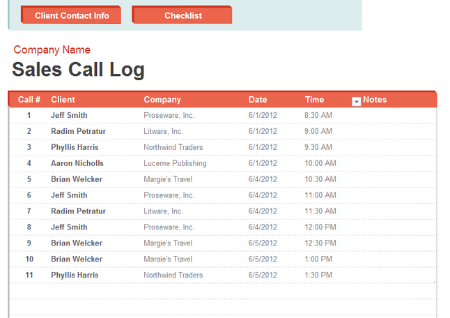 Sales Call List Template  Templates    Template