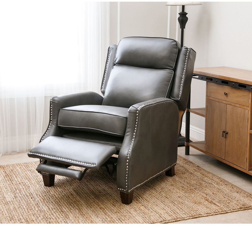 Leather Recliner Sofa Chair Push Back Lounge Seat Grey