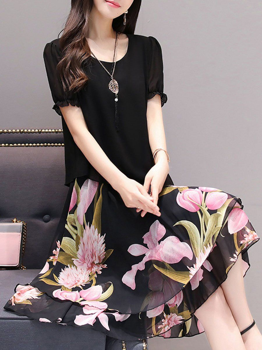 SPECIFICATIONS Product Name  Round Neck Floral Printed Chiffon Skater Dress  Sku  49E83F3929CC Thickness  69716e405