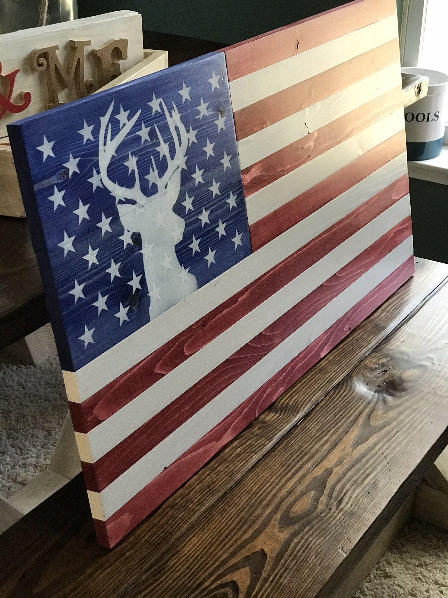 Buck Deer Flag Jpg American Flag Wall Art American Flag Drawing American Flag Wood