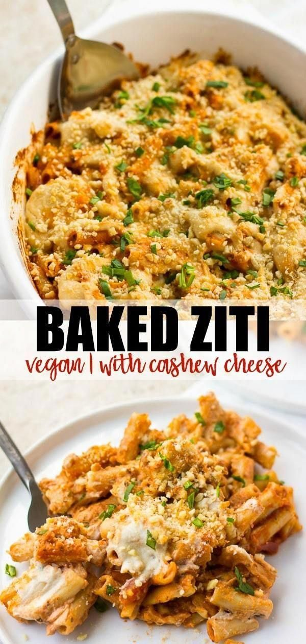 Easy Healthy Vegan Baked Ziti Recipe With Cashew Cheese