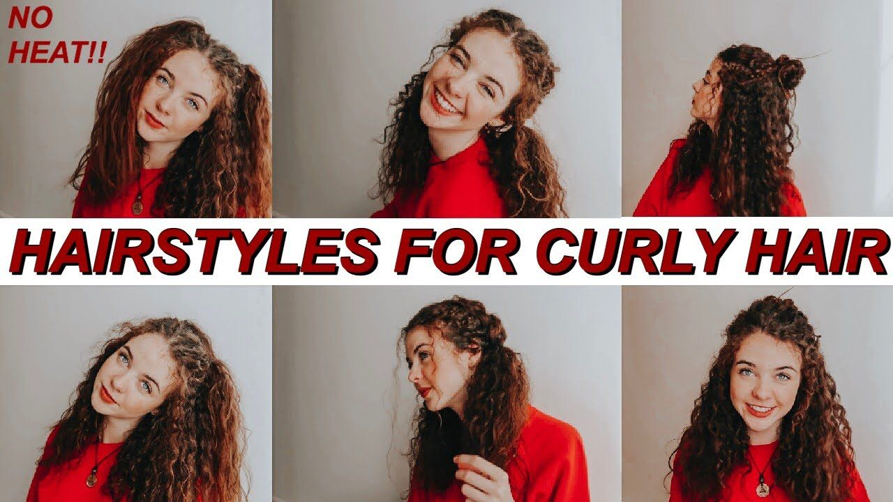 Cute Easy Hairstyles For Curly Hair No Heat 2019 Curly Hair Styles Hair Styles Easy Hairstyles