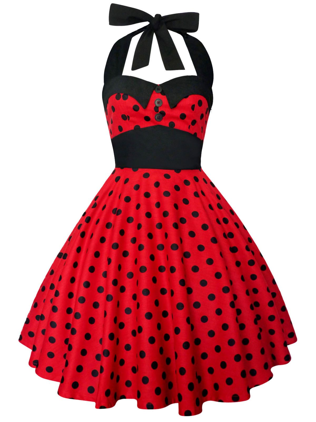 8e955621b6 Rockabilly Red Black Polka Dot Dress Gothic Punk Emo 50s Swing Retro Party