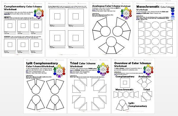 BUNDLED Color Schemes Worksheets PACKET Split
