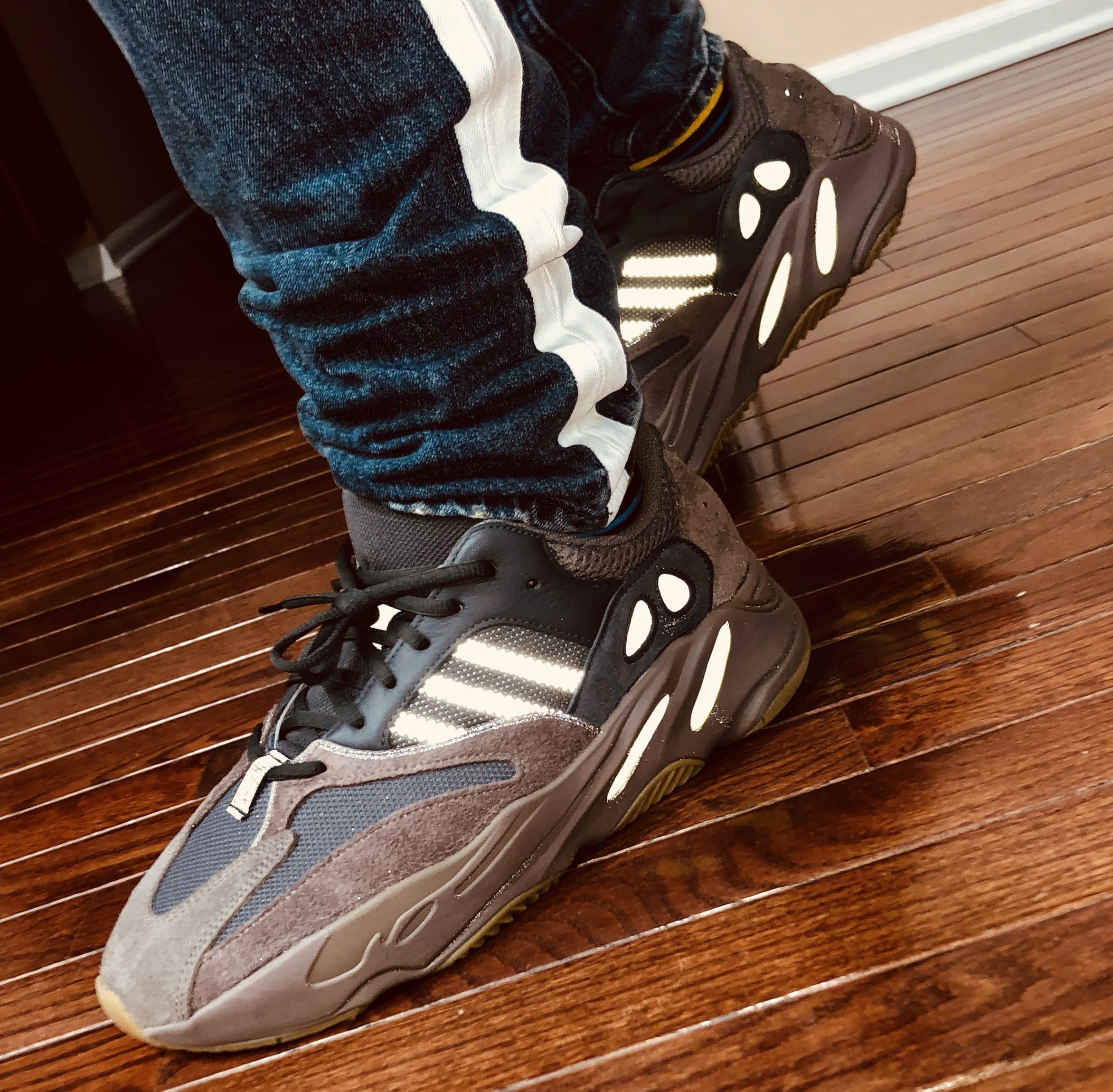 bf9c1b6473e9a Yeezy Boost 700 Mauve. Reflective effect shown due to camera flash ...