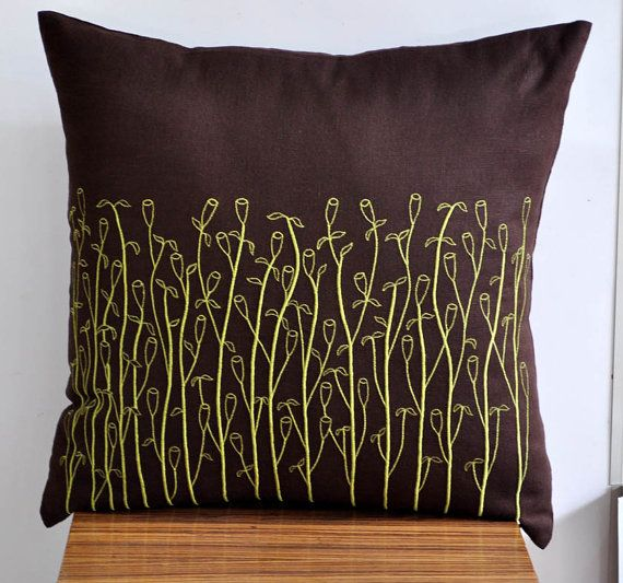 Throw Pillow Cover Decorative Pillow Cover Dark Brown Linen Lime Amazing Green Brown Decorative Pillows