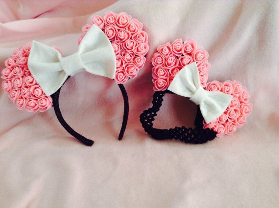 Minnie Mouse Ears pink rose Mommy and me by CrazyBeautifulCreati