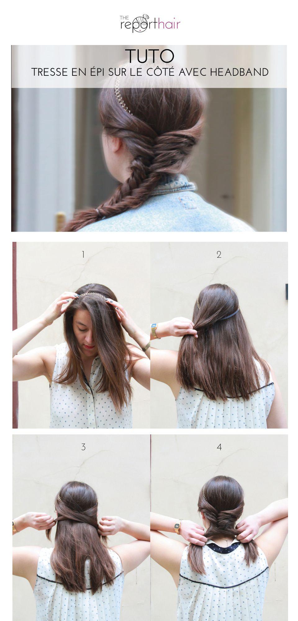 Tresse En Epi Sur Le Cote Avec Headband Pascale Lion Coiffure Coiffure Cheveux Mi Long Mariage Coiffure Avec Headband