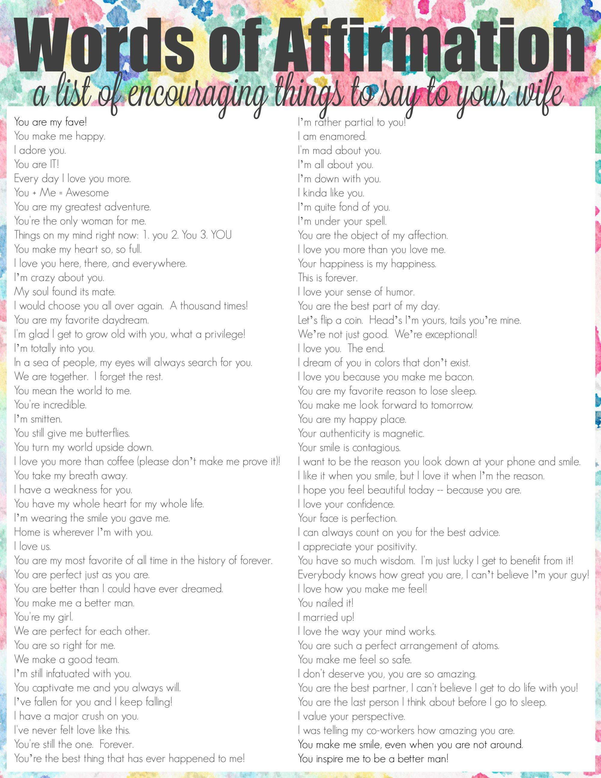 Words Of Affirmation List For Wife