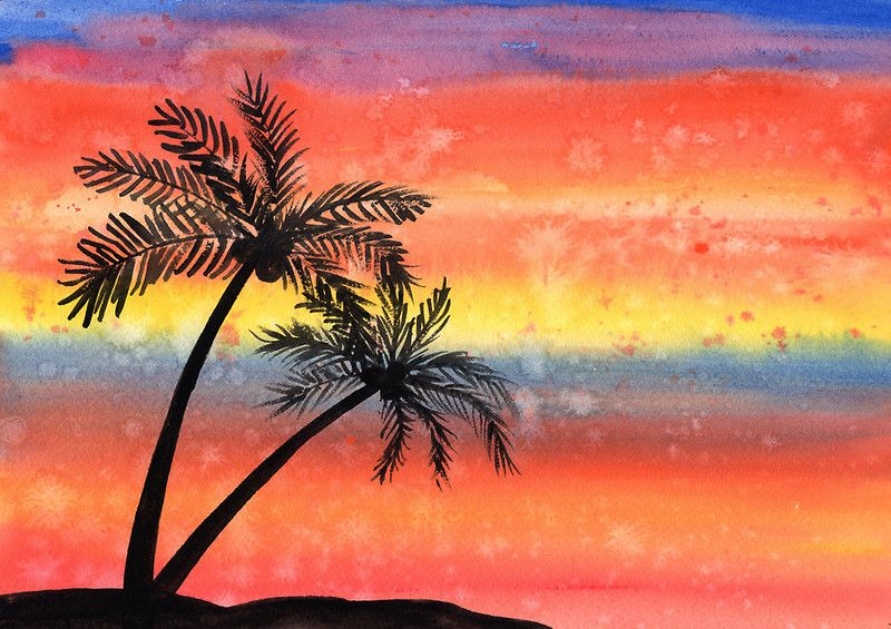 Easy Watercolor Paintings Of Sunsets Watercolor Painting By