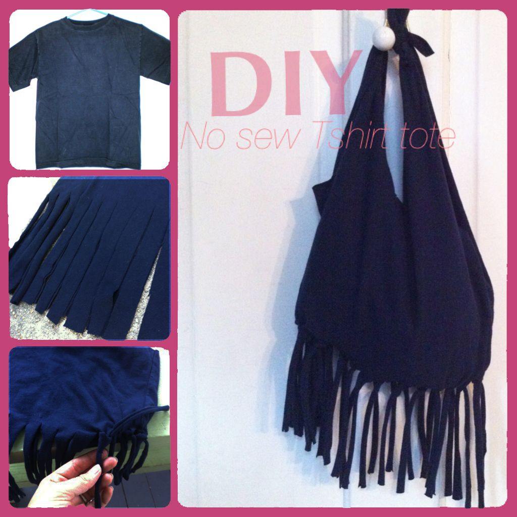 Diy No Sew Fringe Tshirt Tote Bag Tote Bag Small Bags