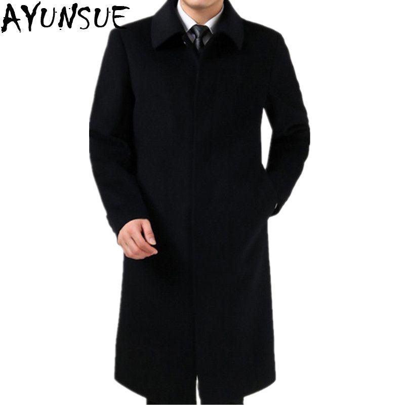 f404d1b9274 AYUNSUE Plus Size 4XL New Fashion 2018 Winter Coat For Men Long Pea jacket  Male Windbreaker Cashmere Coat Men Overcoat LX771 Review