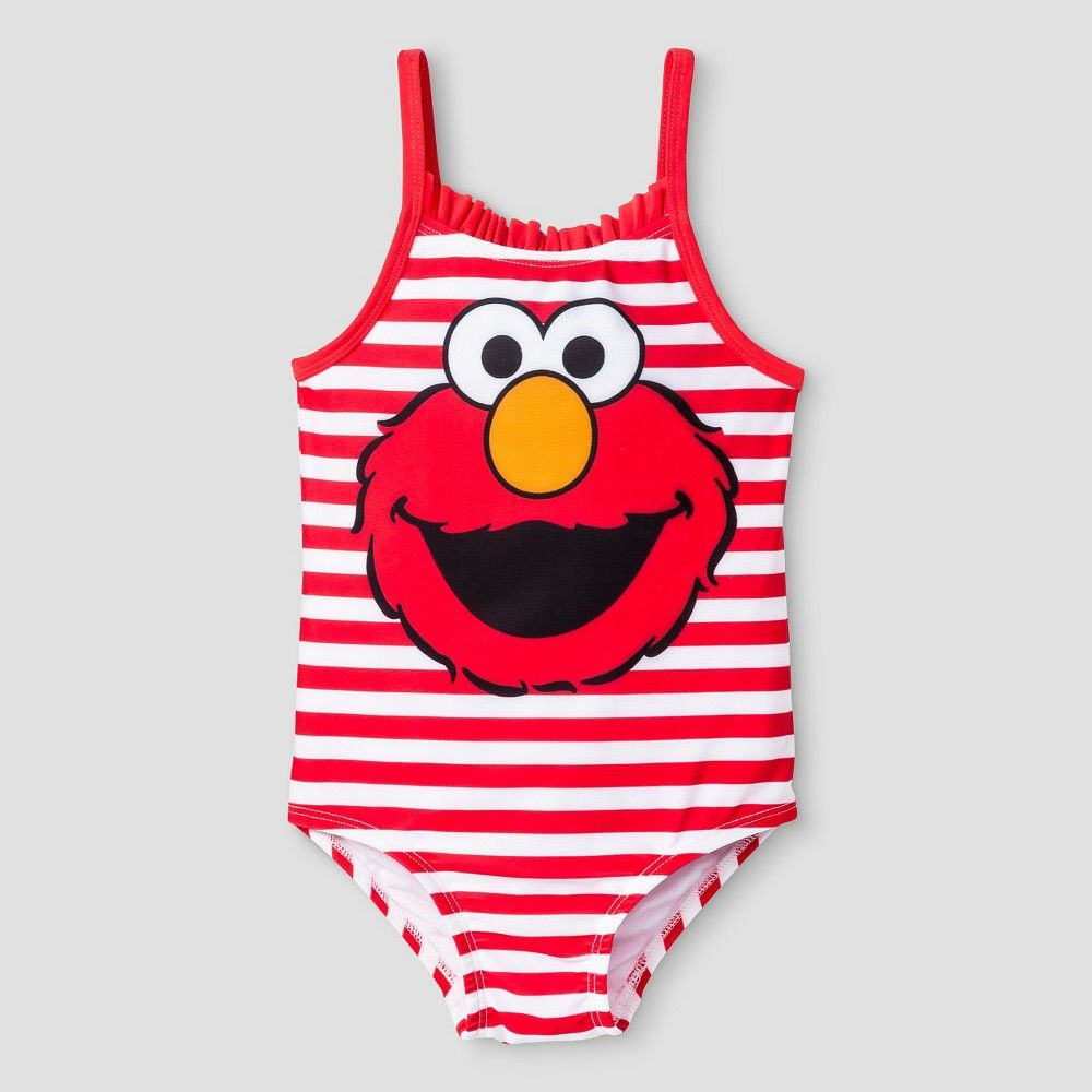112281ea5e Toddler Girls  Sesame Street Elmo One Piece Swimsuit - Red Stripe 5T ...