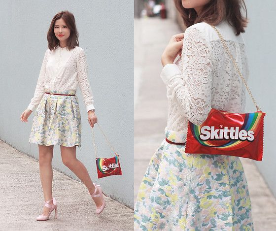 Get this look: http://lb.nu/look/8235733  More looks by Mayo Wo: http://lb.nu/mayowo  Items in this look:  French Connection Uk Lace Top, Bossini Skittles Bag, Front Row Shop Embossed Skirt   #chic #retro #romantic