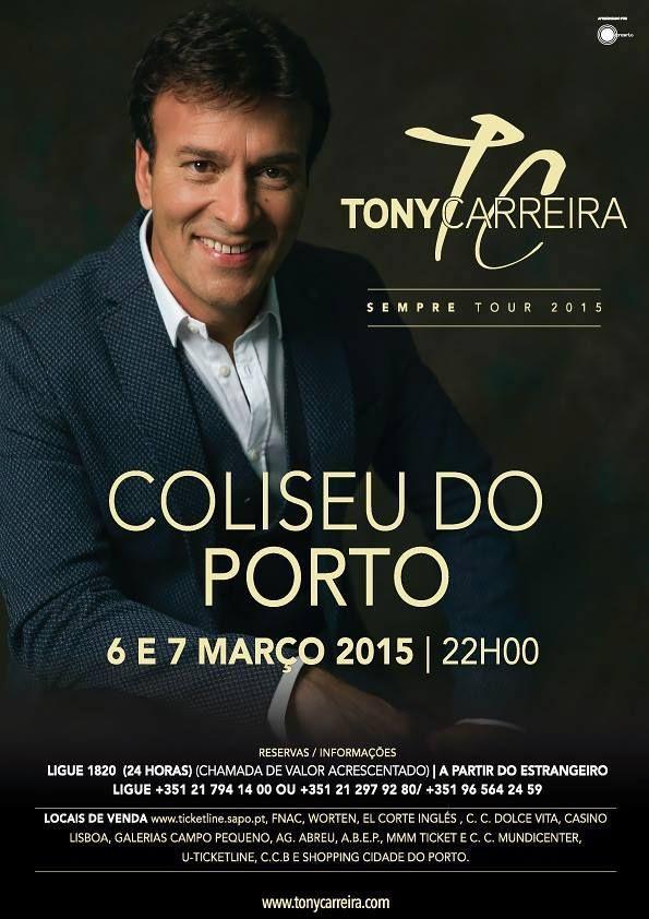 Preparem-se minhas senhoras porque o Coliseu do Porto vai encher com dois grandes concertos de #TonyCarreira, que marcam o início da digressão 2015 do novo trabalho ''Sempre''. #concerto #fimdesemana #porto #escapadinhas
