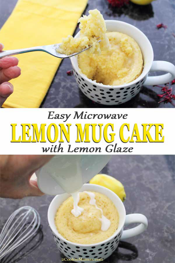 Easy microwave lemon mug cake with lemon glaze | Recipe in ...