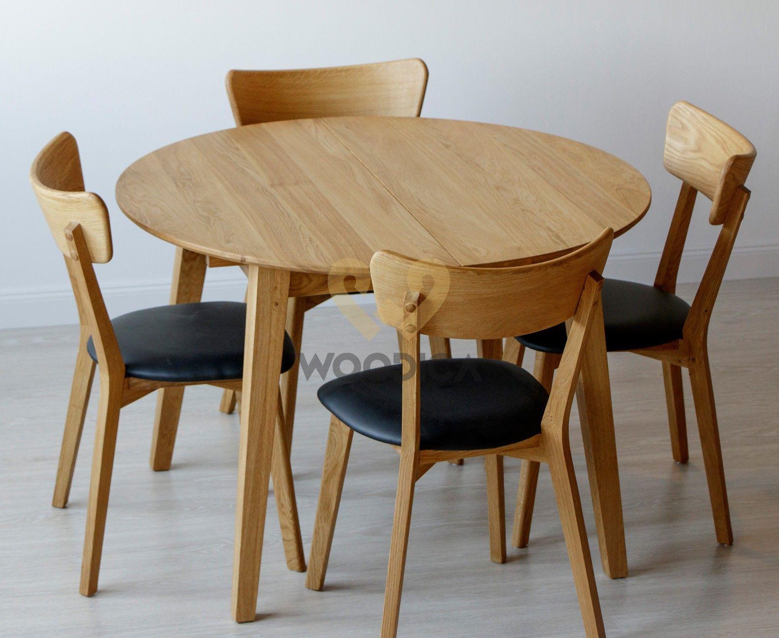Stół Dębowy Okrągły 04 Rozkładany Lite Drewno