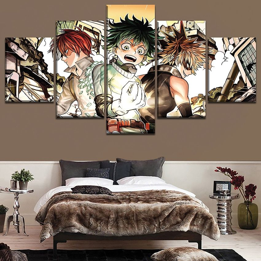 5 pieces my hero academia character canvas painting hd