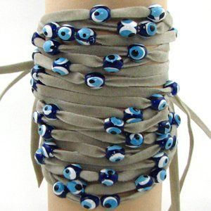 Camel Velvet Evil Eye Wrap Bracelet Picture Shows 5 Bracelets By Love