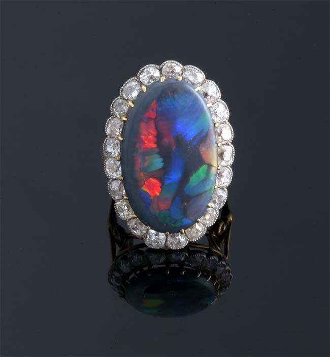 Antique Black Opal Ring Vintage