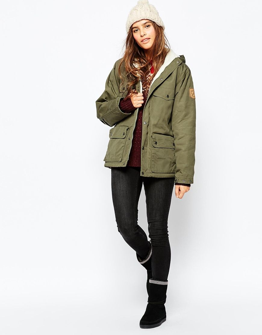 Image 4 of Fjallraven Hooded Short Parka Coat With Faux Shearling ...
