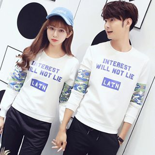 Couple Matching Letter Floral Print Long-Sleeve T-Shirt
