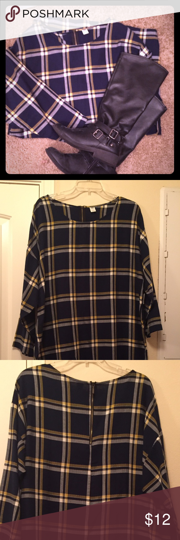 Old Navy plaid shirt dress Navy blue, white, and yellow plaid shirt dress. Knew length, loose fitting. Perfect for fall! Brand new. Old Navy Dresses Midi