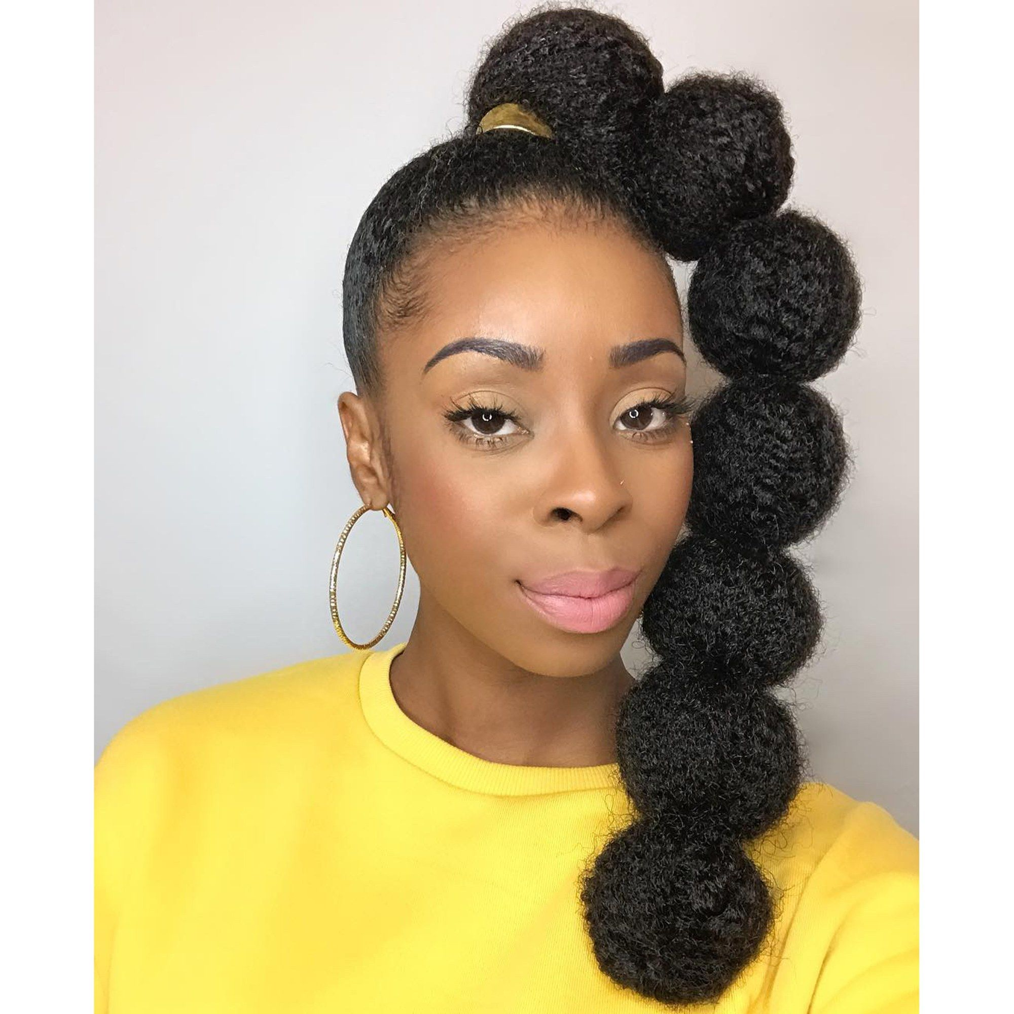 Afro Puff Bubble Ponytails Are Trending On Instagram High Ponytail Hairstyles Natural Hair Styles Bubble Ponytail