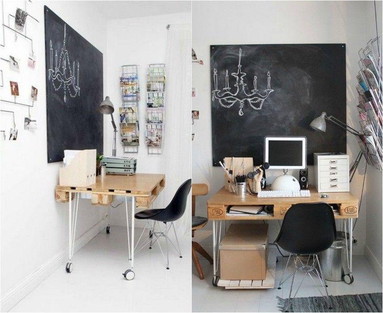 schreibtisch-selber-bauen-paletten-rollen-metall-gestell ... - Paletten Schreibtisch