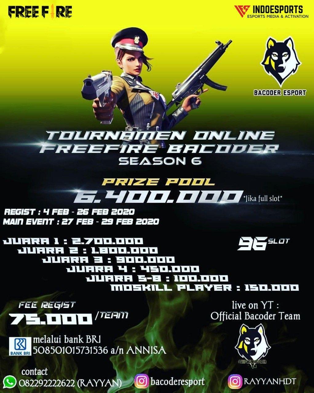 Tournament Online Free Fire Barcoder Season 6 Tanggal Hadiah Media Sosial