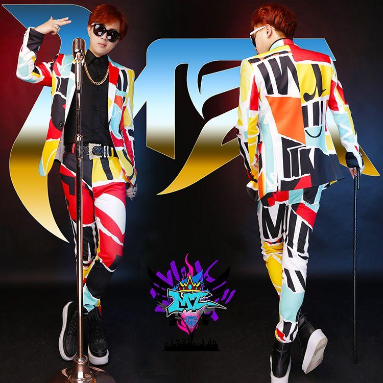 Origin design men's multicolor casual suit male singer DS dance stage wear costumes nightclub show blazer jacket pants DJ