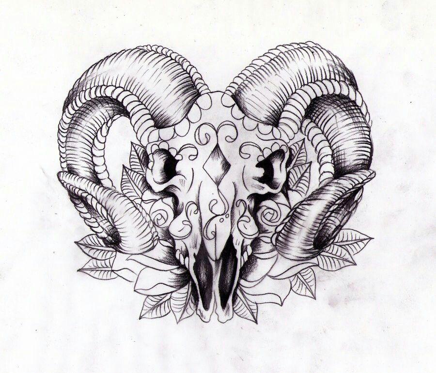 Aries skull Ram tattoo, Aries tattoo, Symbolic tattoos