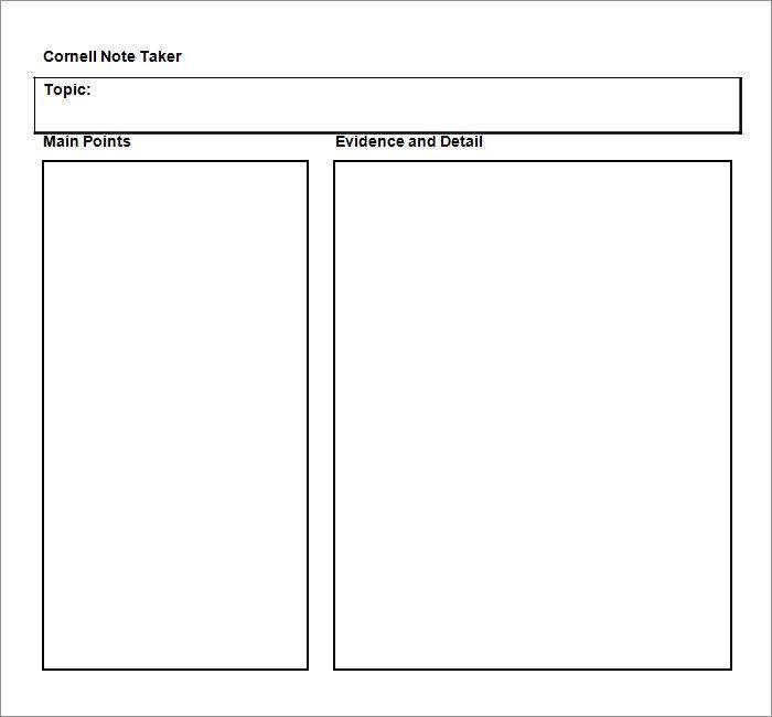 Cornell Notes is simply a note taking system, which was once - notes template word