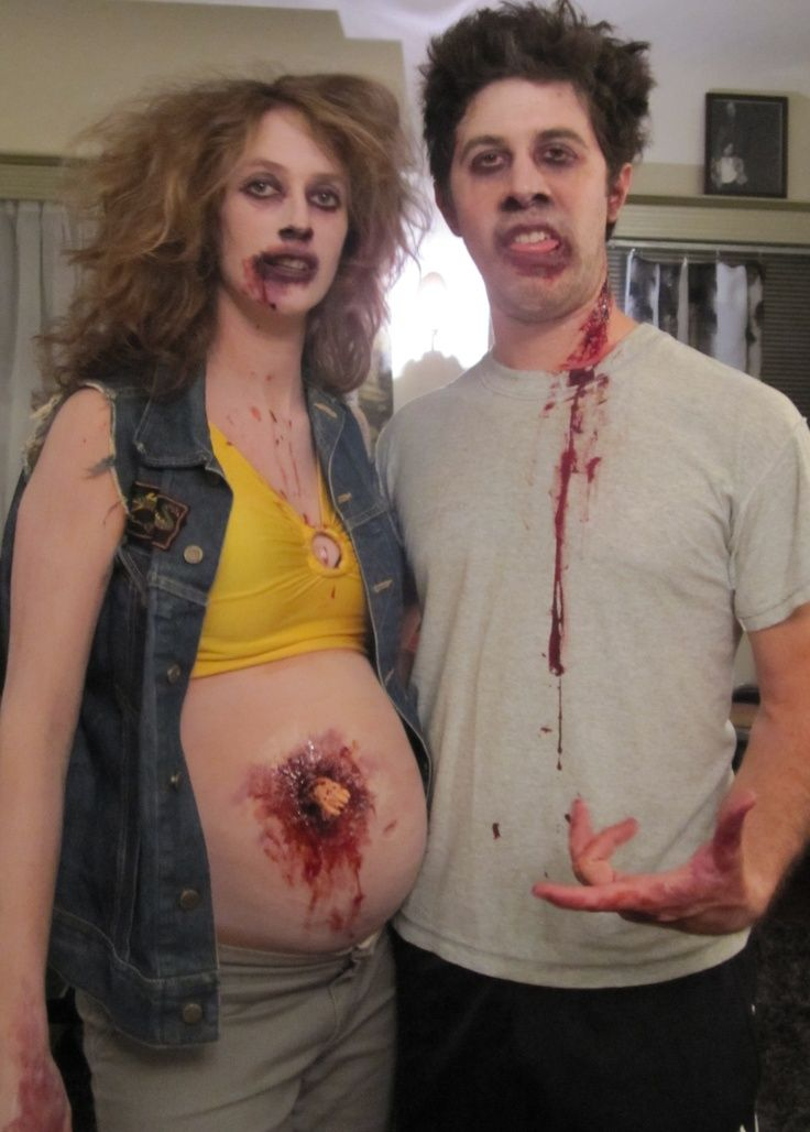 Cute Pregnant Halloween Makeup for Couples zombie pregnant - pregnant couple halloween costume ideas