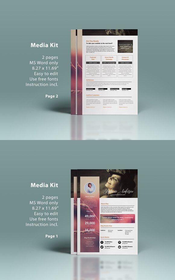 Ms Word Blog Media Kit 2p Pinterest Media Kit Media Kit