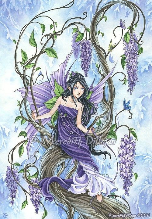 Wisteria flower fairy art fantasy print purple and blue for Fairy painting easy