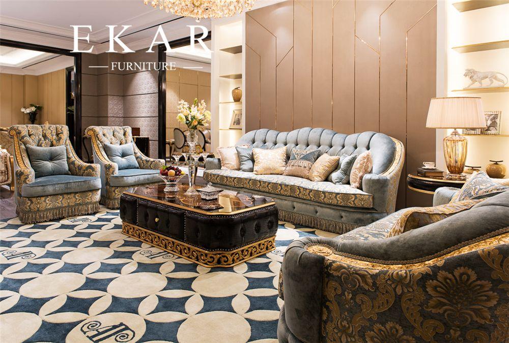 Luxury Classic European American Fabric Living Room Sofa Set Ocean