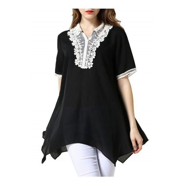 Women's Fashion Lace Paneled Irregular Hem Mini Dress ($23) ❤ liked on Polyvore featuring dresses, black, short mini dress, v neck dress, v neck mini dress, lace panel dress and short dresses