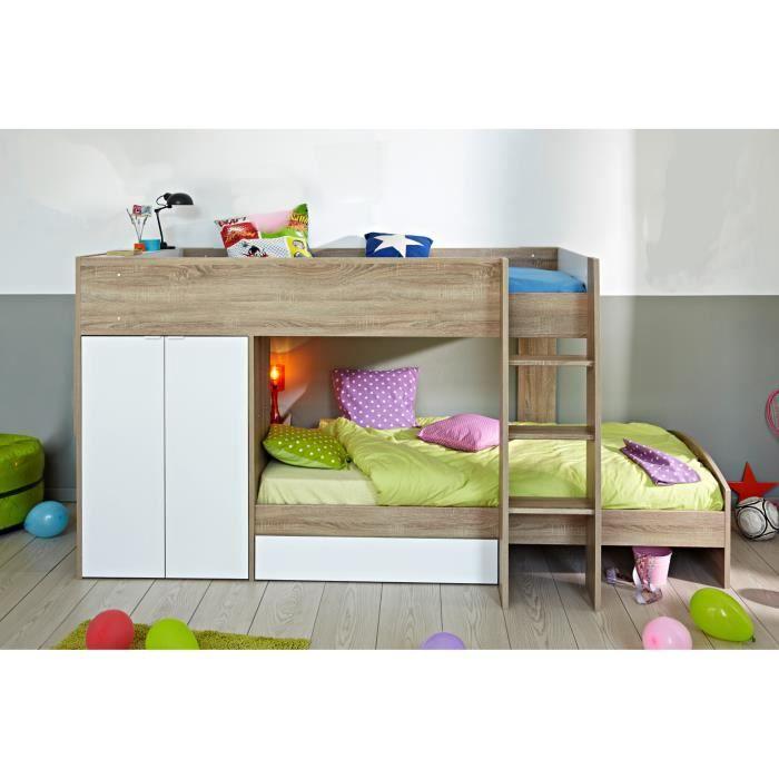 Bonplan maison mist lit superpos 90x200 cm d cor - Lit superpose moderne ...