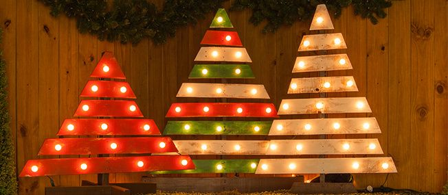 DIY Christmas Trees With Marquee Lights Marquee lights, Christmas
