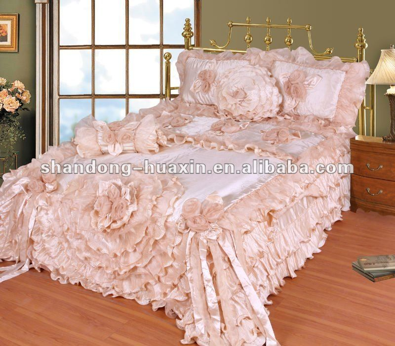 bedding ensembles product details hand made flowe bedding set satin organza fabric my. Black Bedroom Furniture Sets. Home Design Ideas