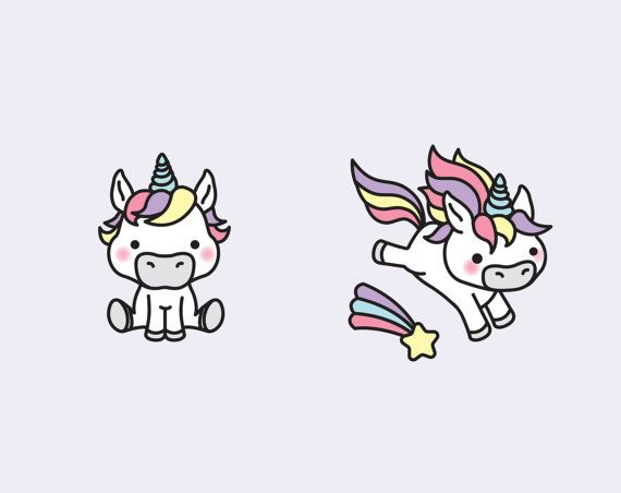 premium vector clipart kawaii unicorns cute unicorns. Black Bedroom Furniture Sets. Home Design Ideas