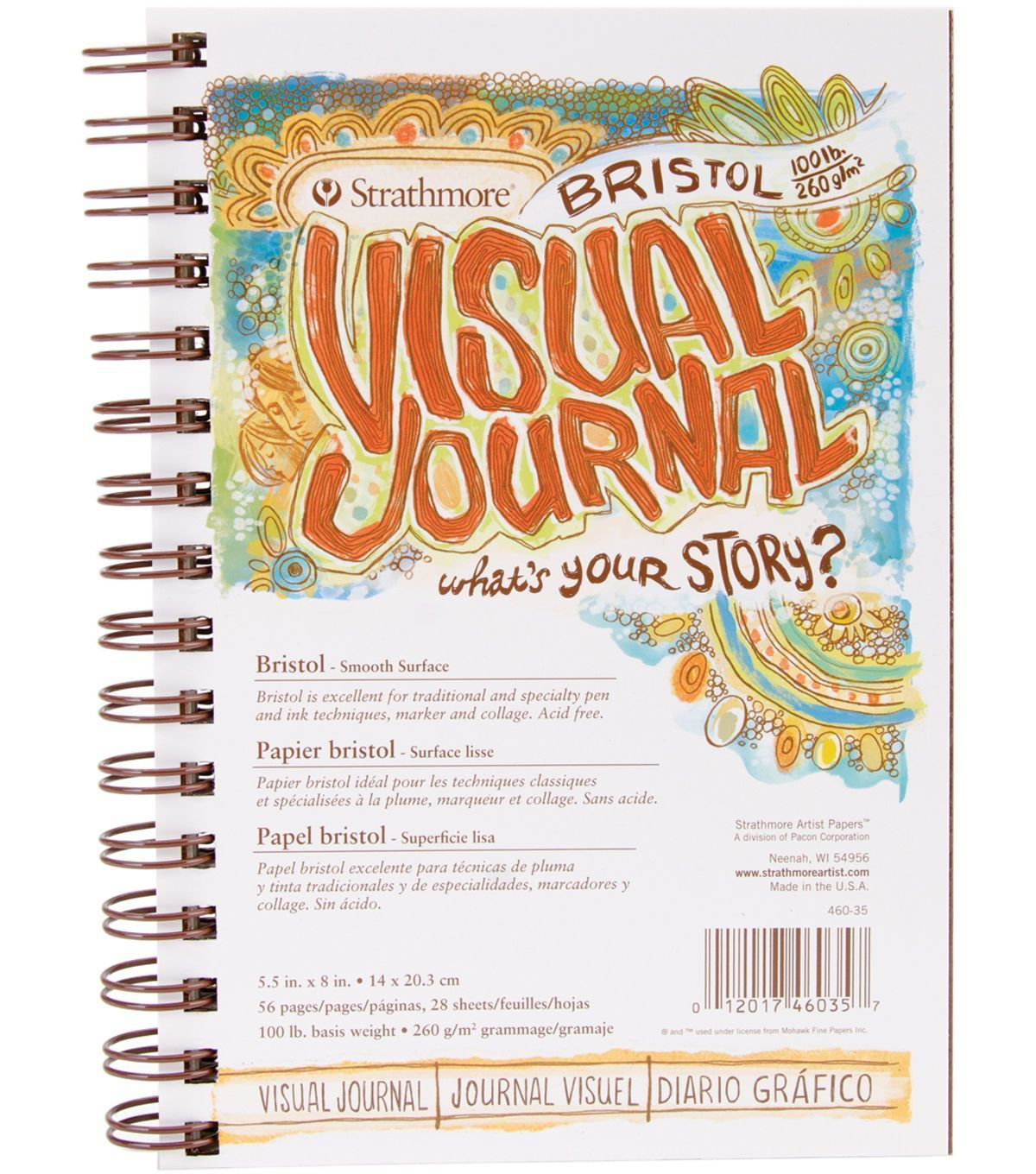 "Strathmore Visual Journal Spiral Bound 5.5/""X8/""-140# Watercolor ."