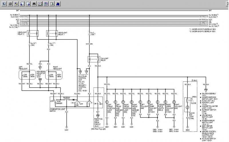 headlight wiring diagram  hondatech  honda jazz honda