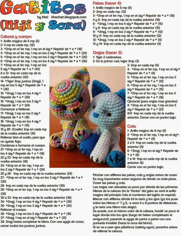 gatitos con patron!! | de todo un poco en crochet | Pinterest ...
