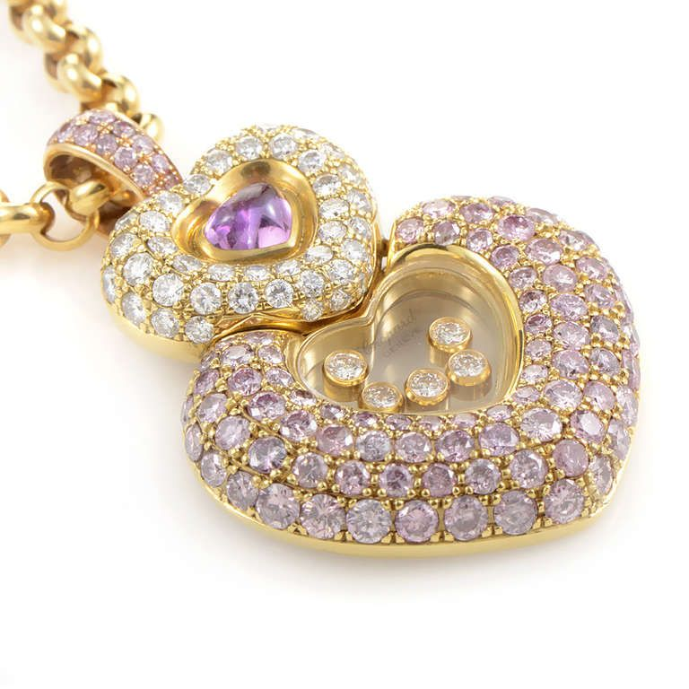 Chopard imperiale 18k yellow gold pink white diamond heart chopard imperiale 18k yellow gold pink white diamond heart pendant necklace aloadofball Gallery