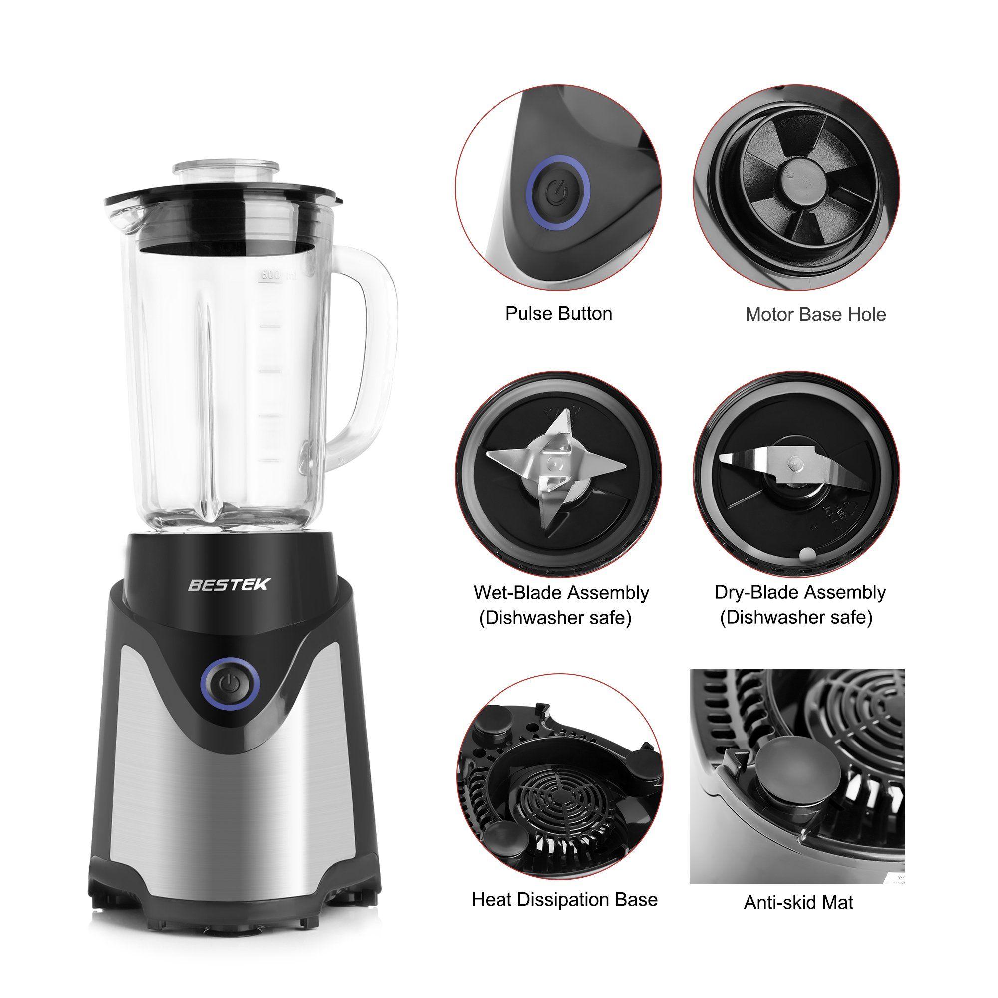 Bestek Bl15 Personal Blender Single Serve Smoothie Milkshake Maker With 20oz Glass Jar 2 Bpafree Portable Bottles And Tra Milkshake Maker Milk Smoothie Blender