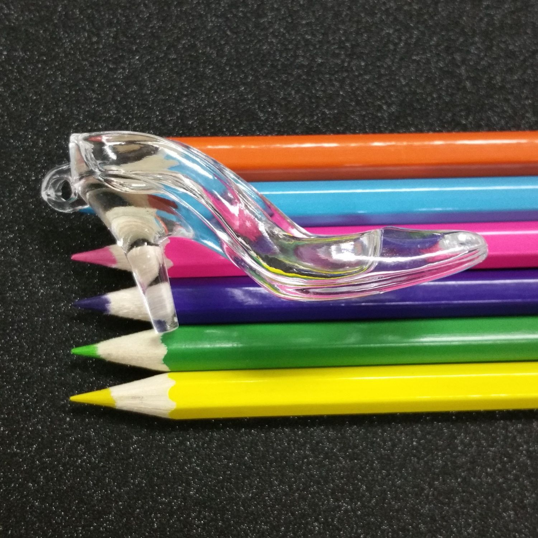 3 PCS - LARGE Cinderella Glass Effect Slipper Shoe Resin Plastic Clear Charm Pendant C0943